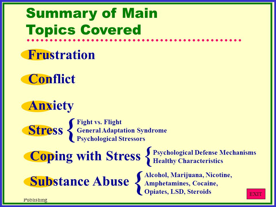 { { { Summary of Main Topics Covered Frustration Conflict Anxiety