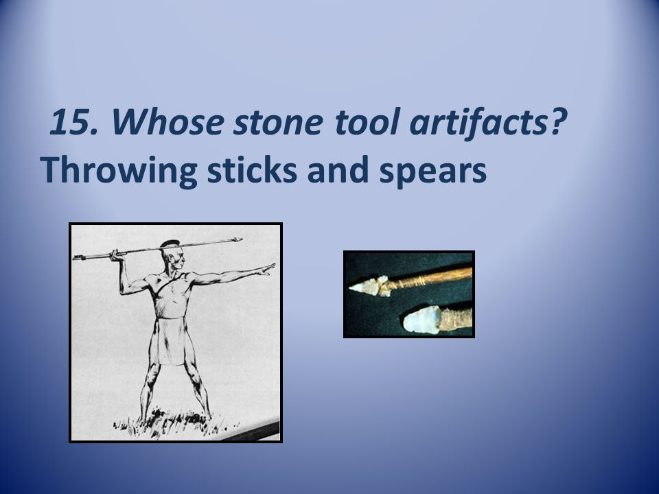 15. Whose stone tool artifacts Throwing sticks and spears