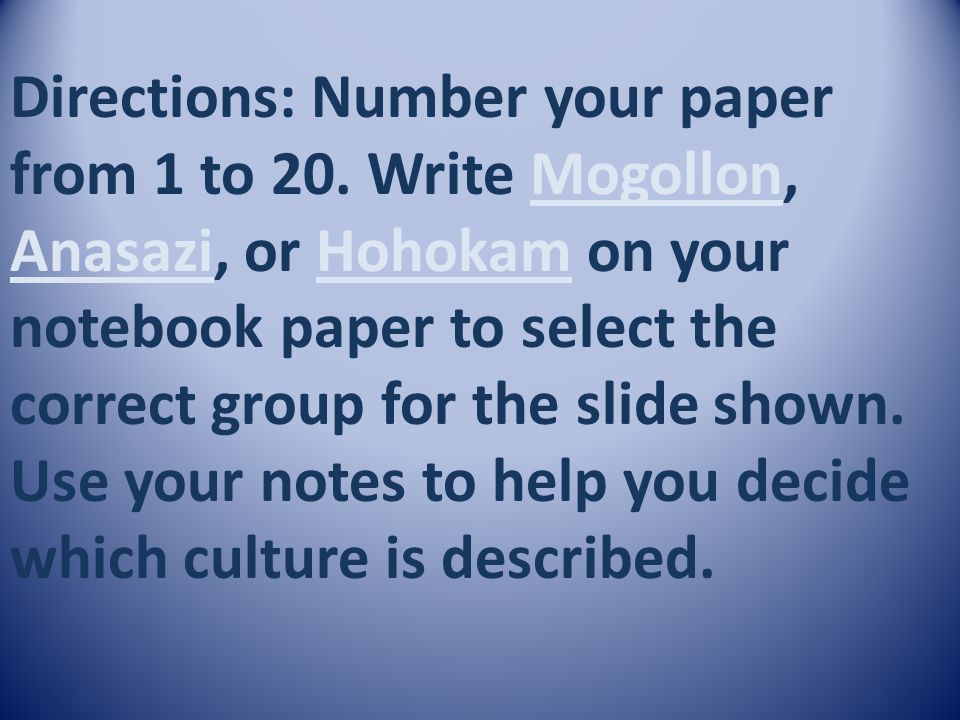 Directions: Number your paper from 1 to 20