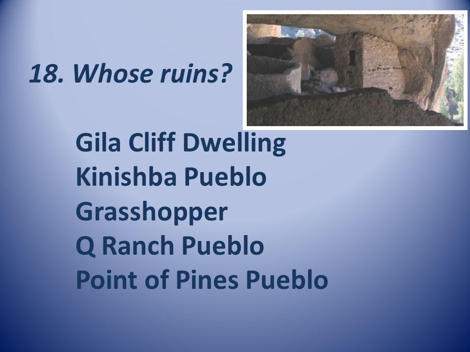 18. Whose ruins. Gila Cliff Dwelling. Kinishba Pueblo. Grasshopper