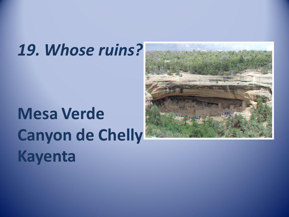 19. Whose ruins Mesa Verde Canyon de Chelly Kayenta