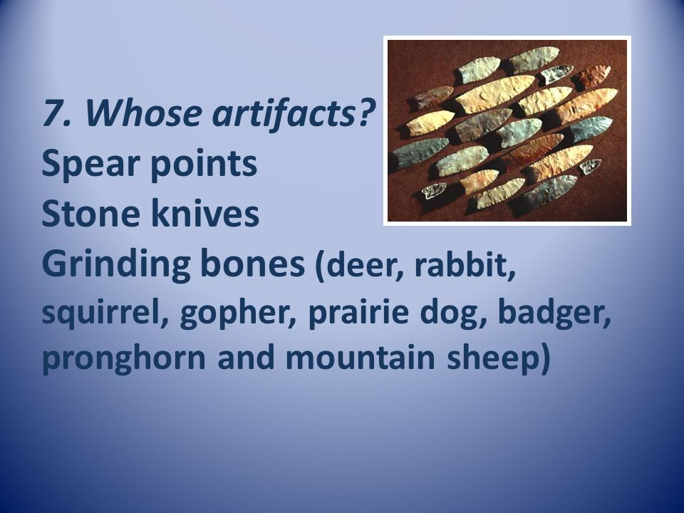 7. Whose artifacts.