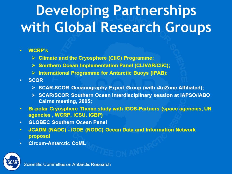 Developing Partnerships with Global Research Groups