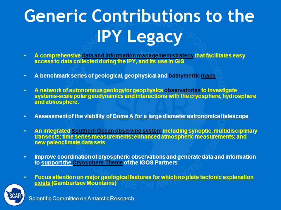 Generic Contributions to the IPY Legacy