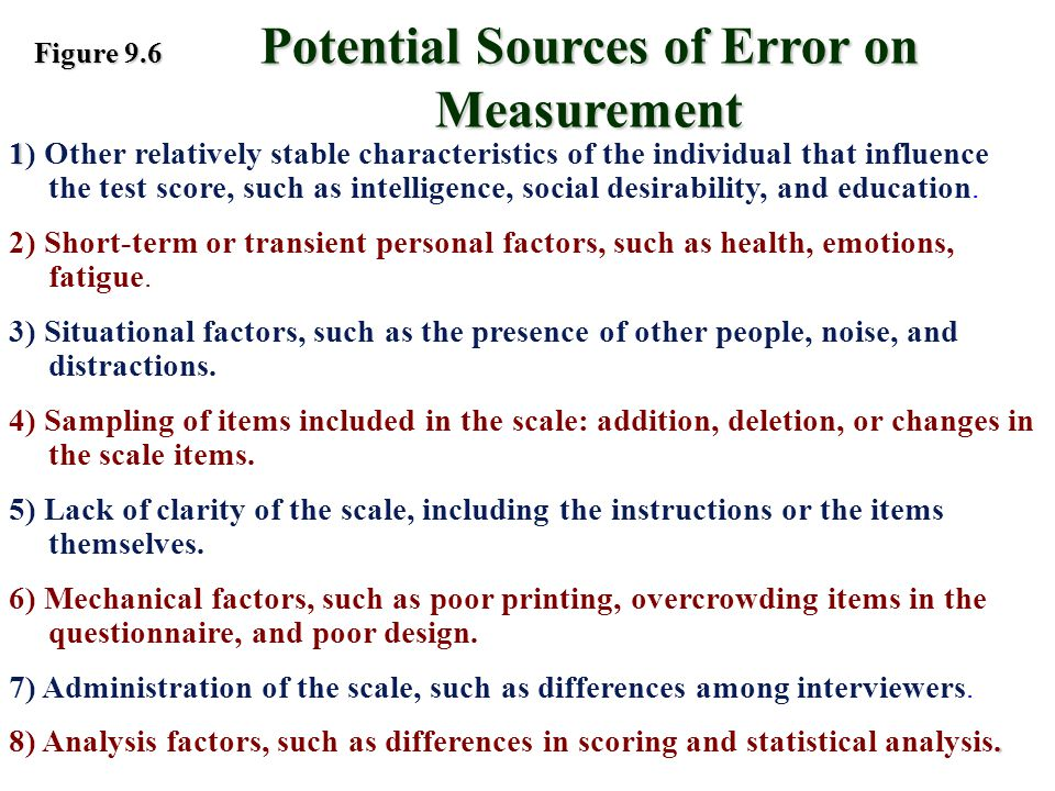 Potential Sources of Error on Measurement