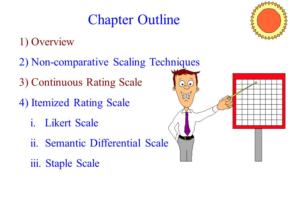 Chapter Outline 1) Overview 2) Non-comparative Scaling Techniques