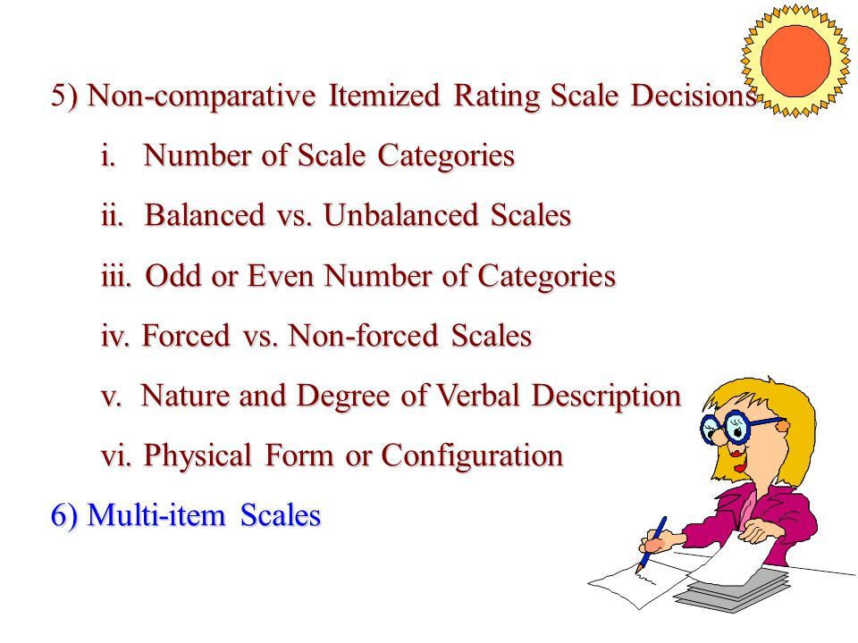 5) Non-comparative Itemized Rating Scale Decisions