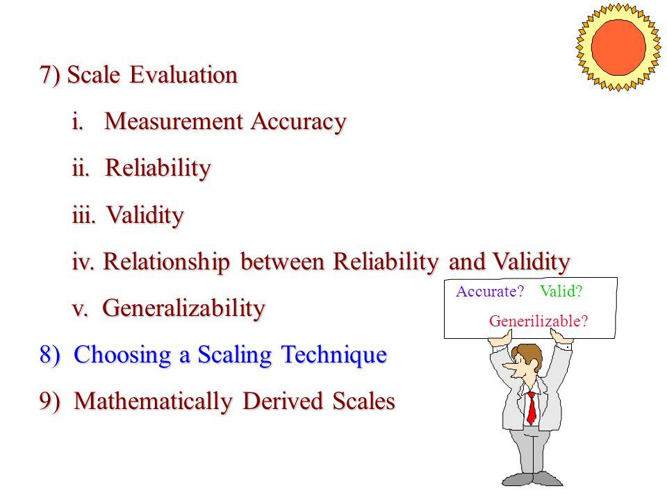 i. Measurement Accuracy ii. Reliability iii. Validity