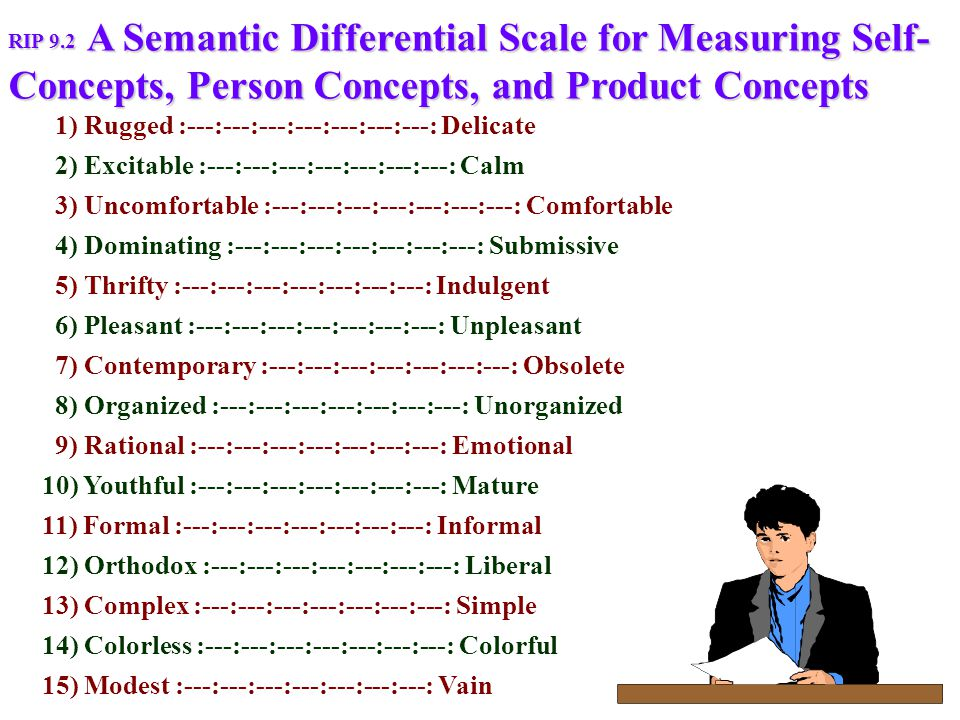 A Semantic Differential Scale for Measuring Self- Concepts, Person Concepts, and Product Concepts