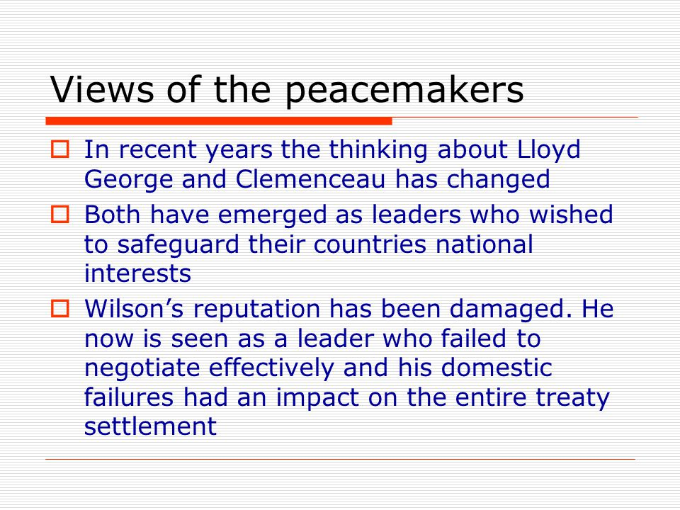 Views of the peacemakers