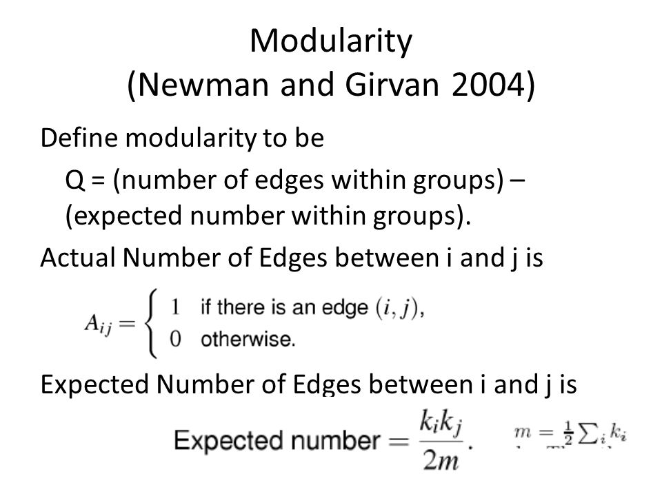 Modularity (Newman and Girvan 2004)
