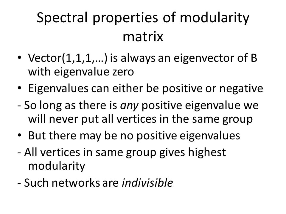 Spectral properties of modularity matrix