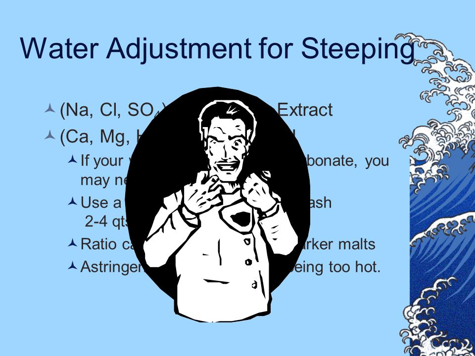 Water Adjustment for Steeping