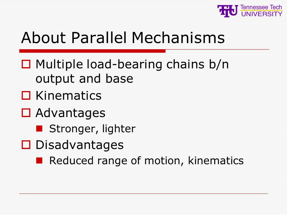 About Parallel Mechanisms