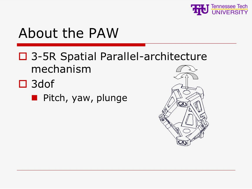 About the PAW 3-5R Spatial Parallel-architecture mechanism 3dof