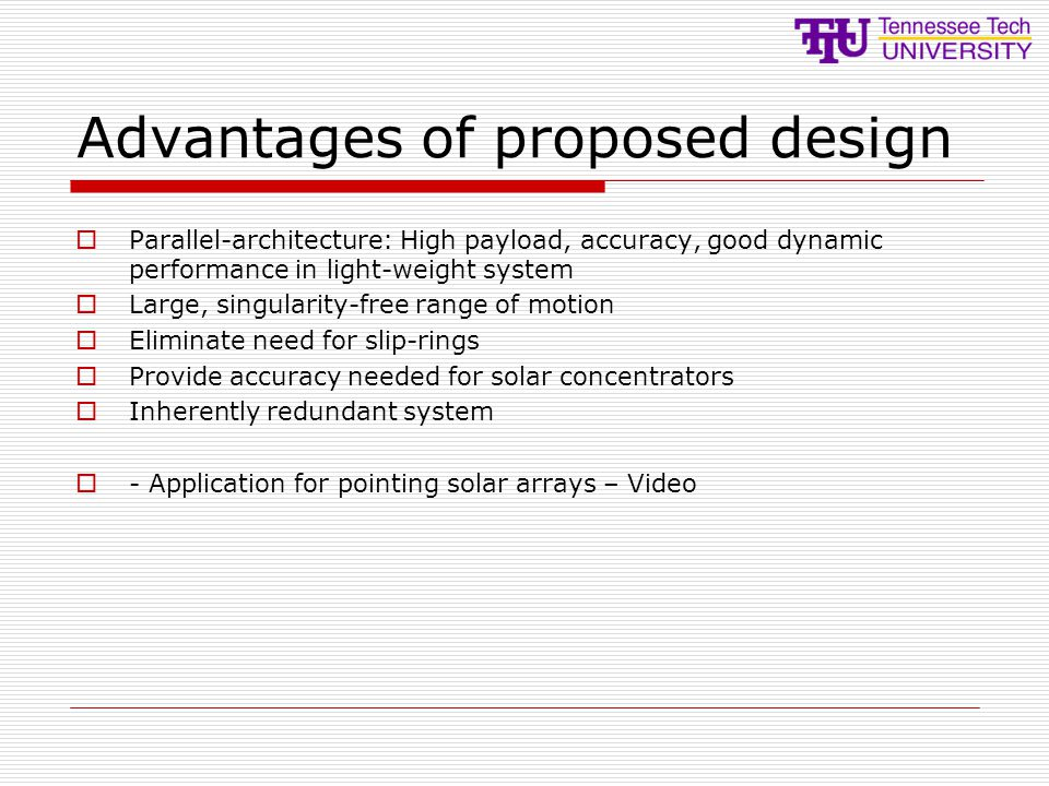 Advantages of proposed design