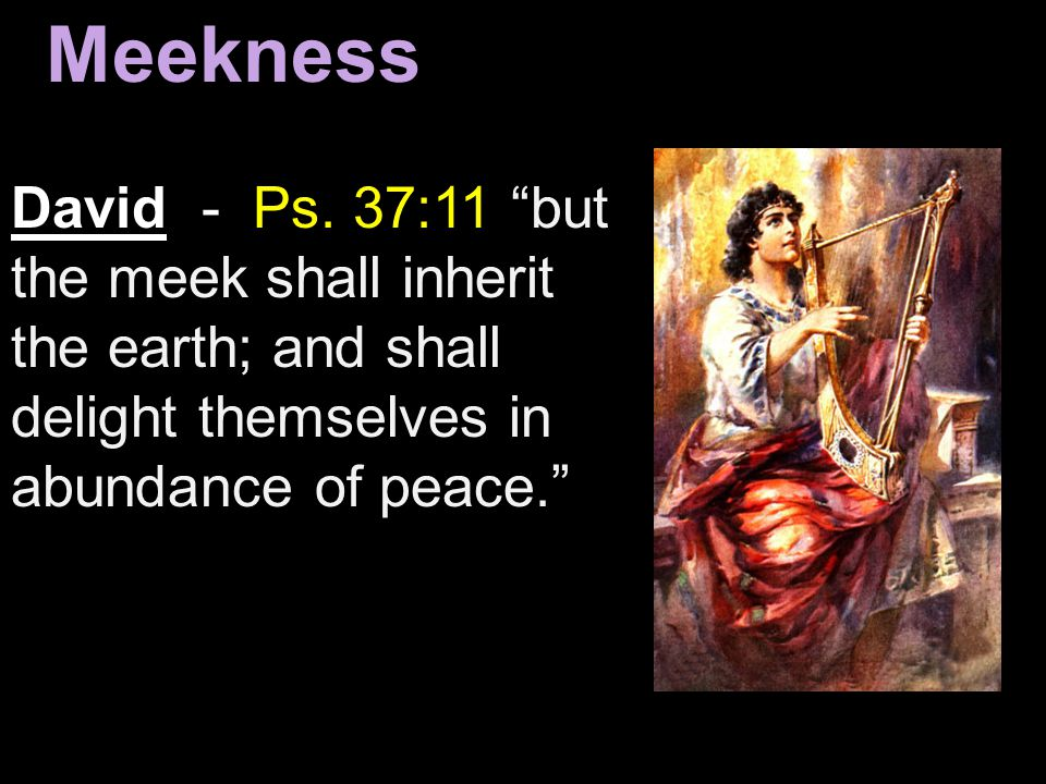 Meekness David - Ps. 37:11 but the meek shall inherit the earth; and shall delight themselves in abundance of peace.