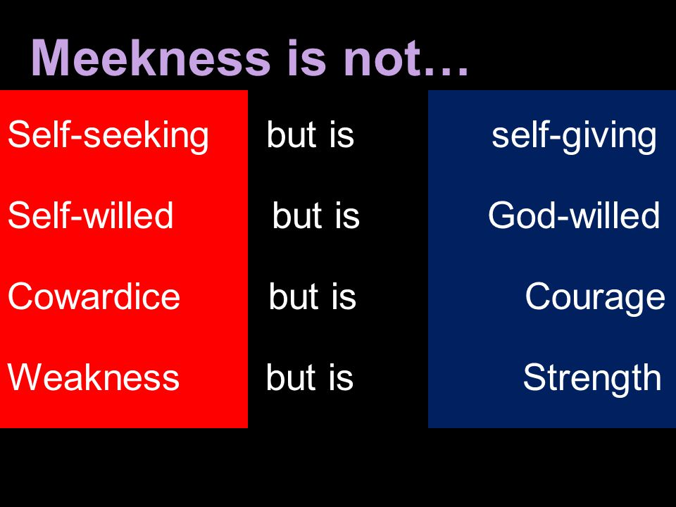 Meekness is not… Self-seeking but is self-giving