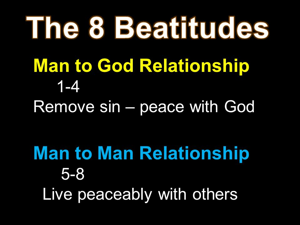 The 8 Beatitudes Man to God Relationship Man to Man Relationship 1-4