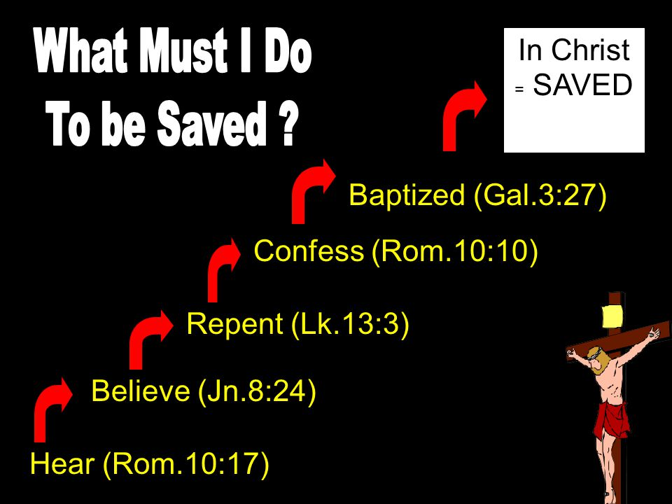 What Must I Do To be Saved In Christ = SAVED Baptized (Gal.3:27)