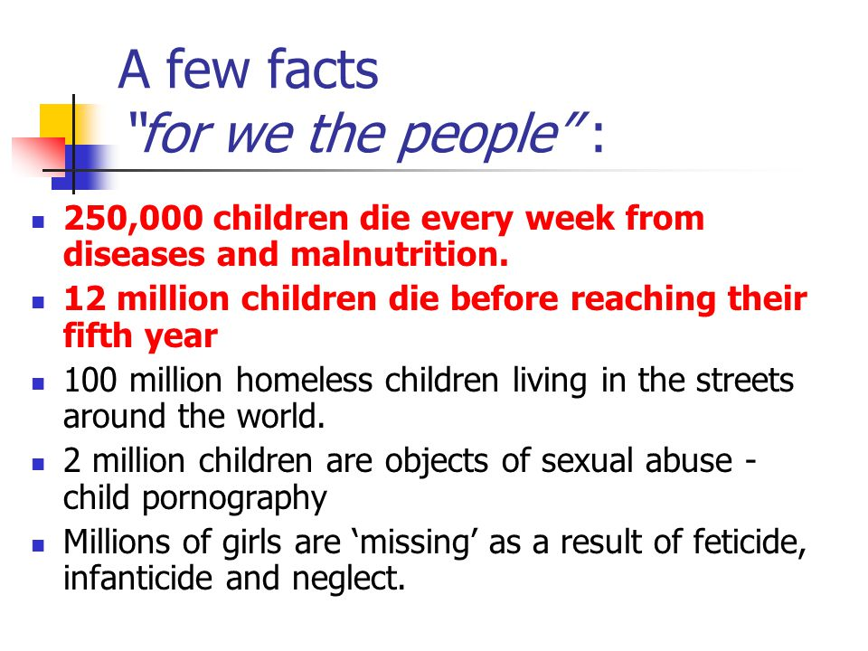 A few facts for we the people :