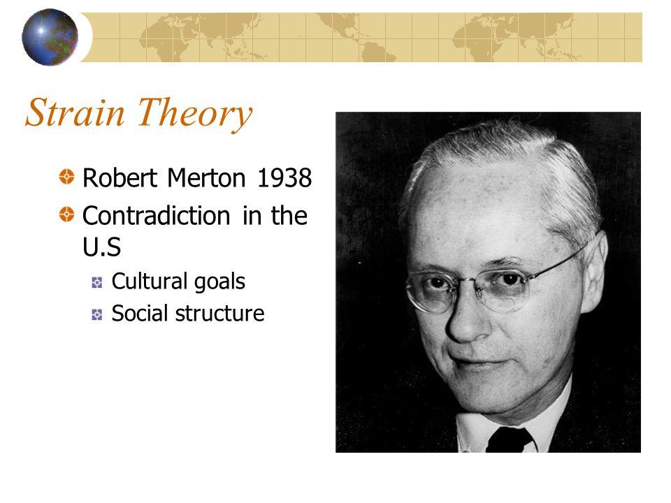 Strain Theory Robert Merton 1938 Contradiction in the U.S