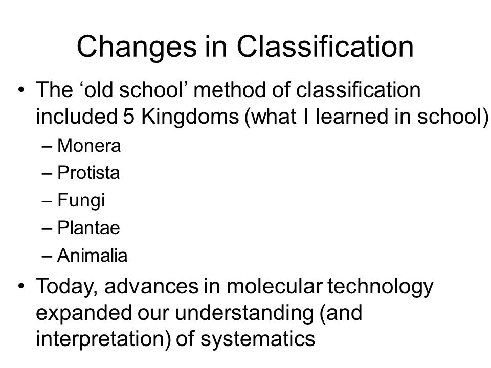 Changes in Classification