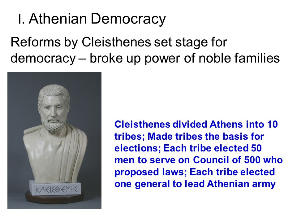 cleisthenes and his reforms One of the many reforms solon introduced into his society was the absolute right of the local citizens to choose and elect their read more about cleisthenes.