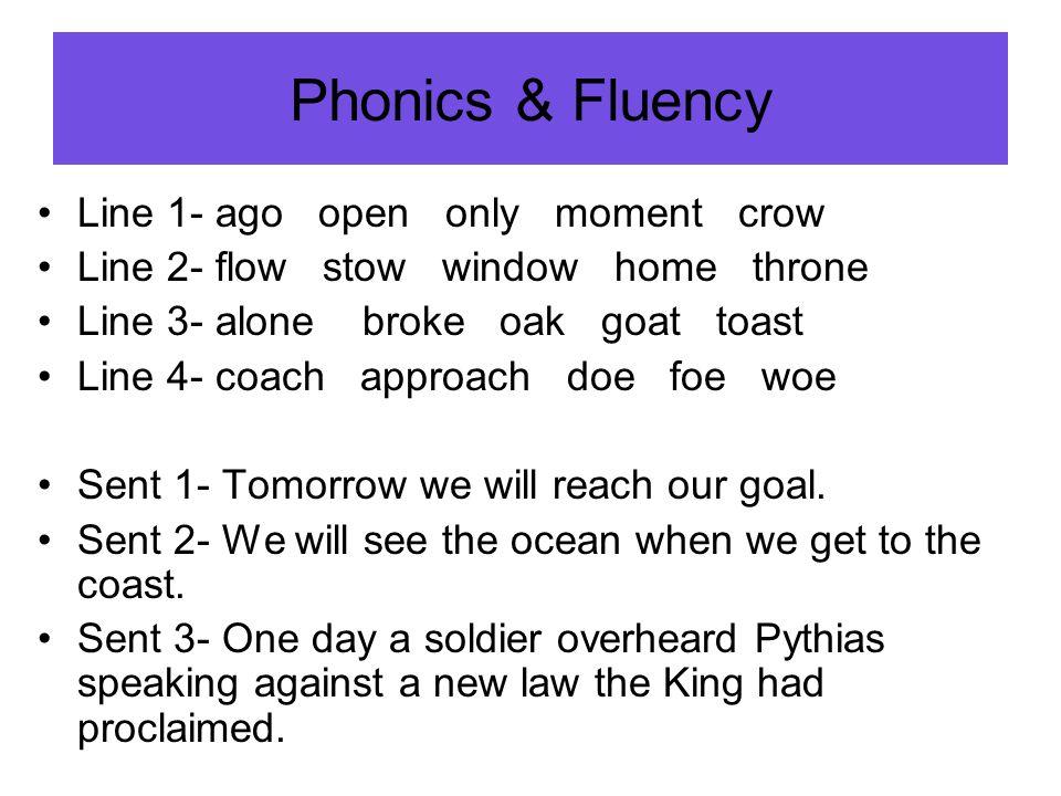 Phonics & Fluency Phonics & Fluency Line 1- ago open only moment crow