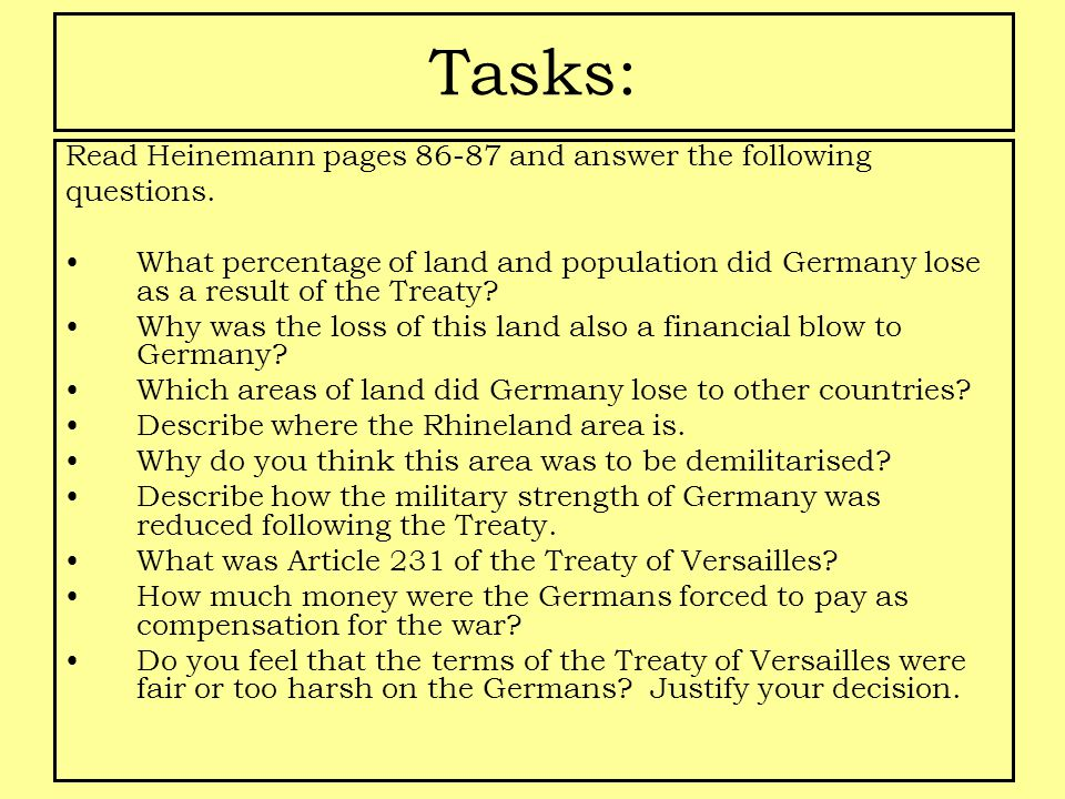 Tasks: Read Heinemann pages 86-87 and answer the following questions.