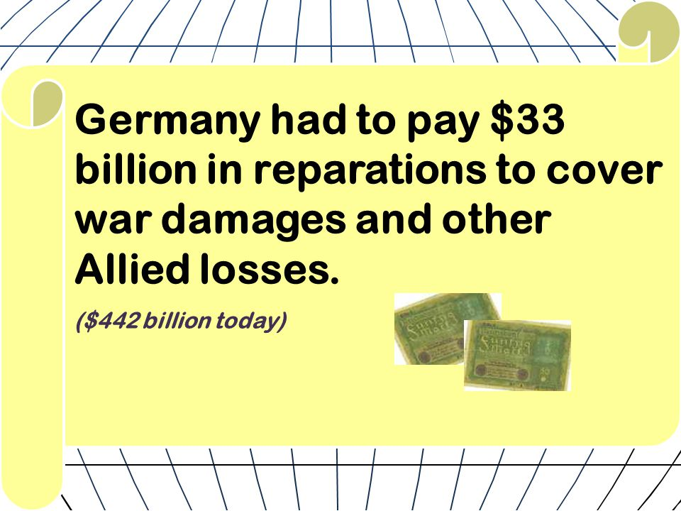 Germany had to pay $33 billion in reparations to cover war damages and other Allied losses.