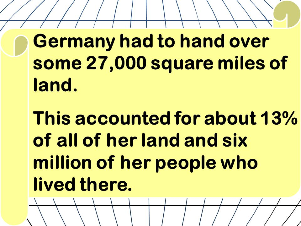 Germany had to hand over some 27,000 square miles of land.