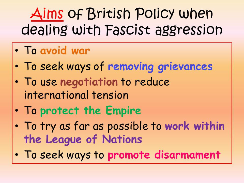 Aims of British Policy when dealing with Fascist aggression
