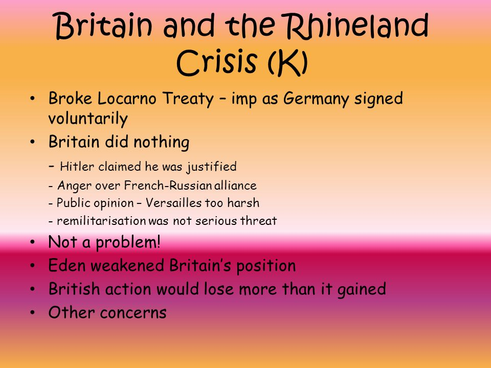 Britain and the Rhineland Crisis (K)