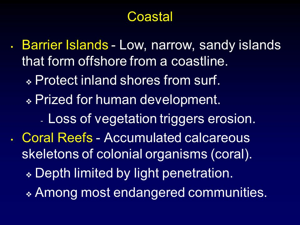 Coastal Barrier Islands - Low, narrow, sandy islands that form offshore from a coastline. Protect inland shores from surf.