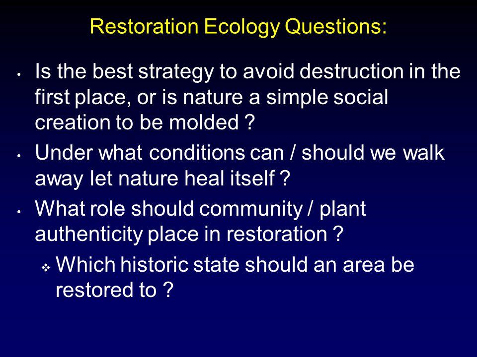 Restoration Ecology Questions: