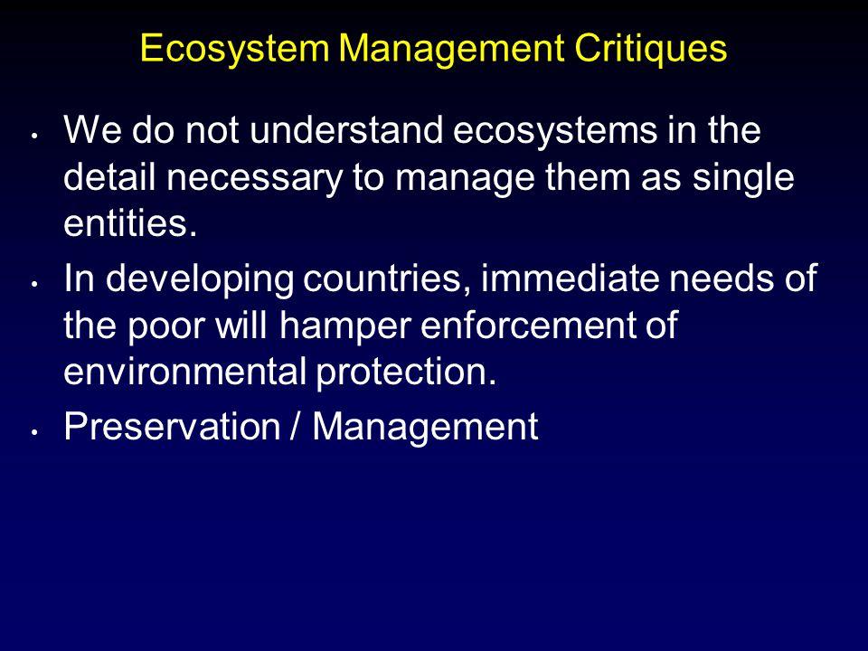 Ecosystem Management Critiques