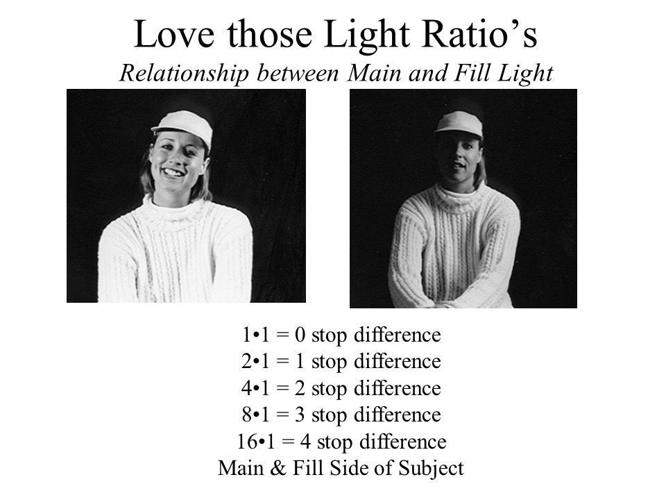 Love those Light Ratio's Relationship between Main and Fill Light