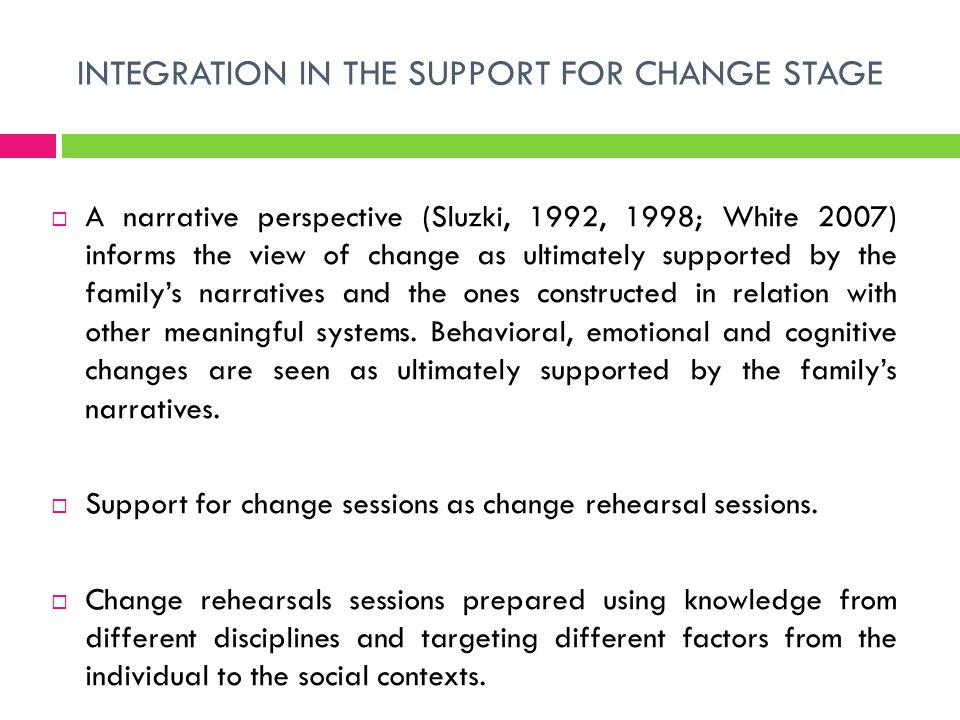 INTEGRATION IN THE SUPPORT FOR CHANGE STAGE