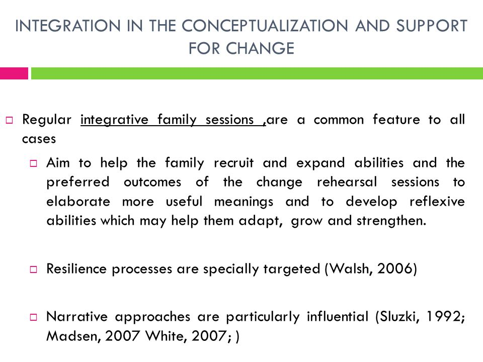 INTEGRATION IN THE CONCEPTUALIZATION AND SUPPORT FOR CHANGE