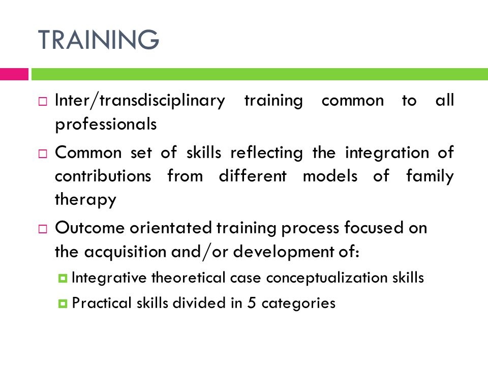TRAINING Inter/transdisciplinary training common to all professionals