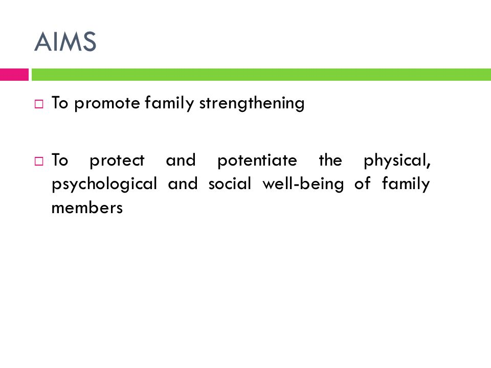 AIMS To promote family strengthening