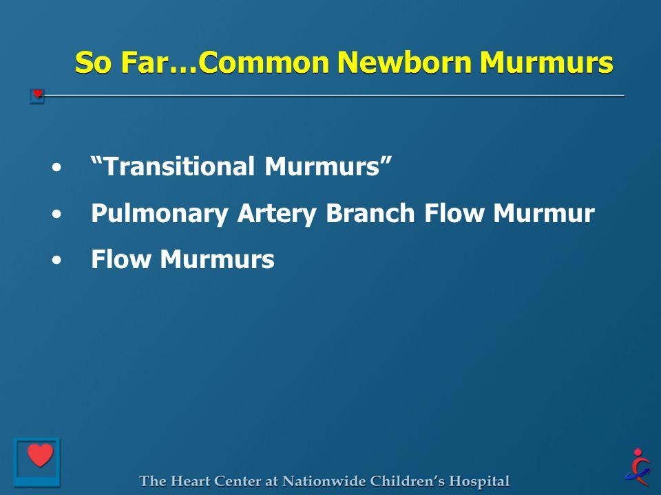 So Far…Common Newborn Murmurs