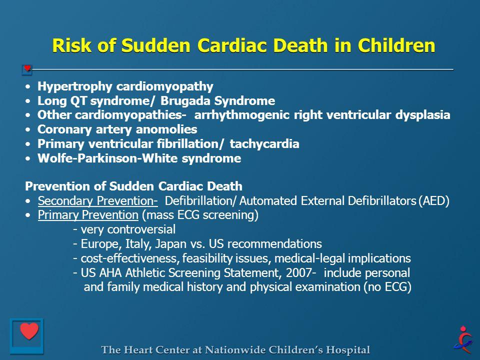 Risk of Sudden Cardiac Death in Children