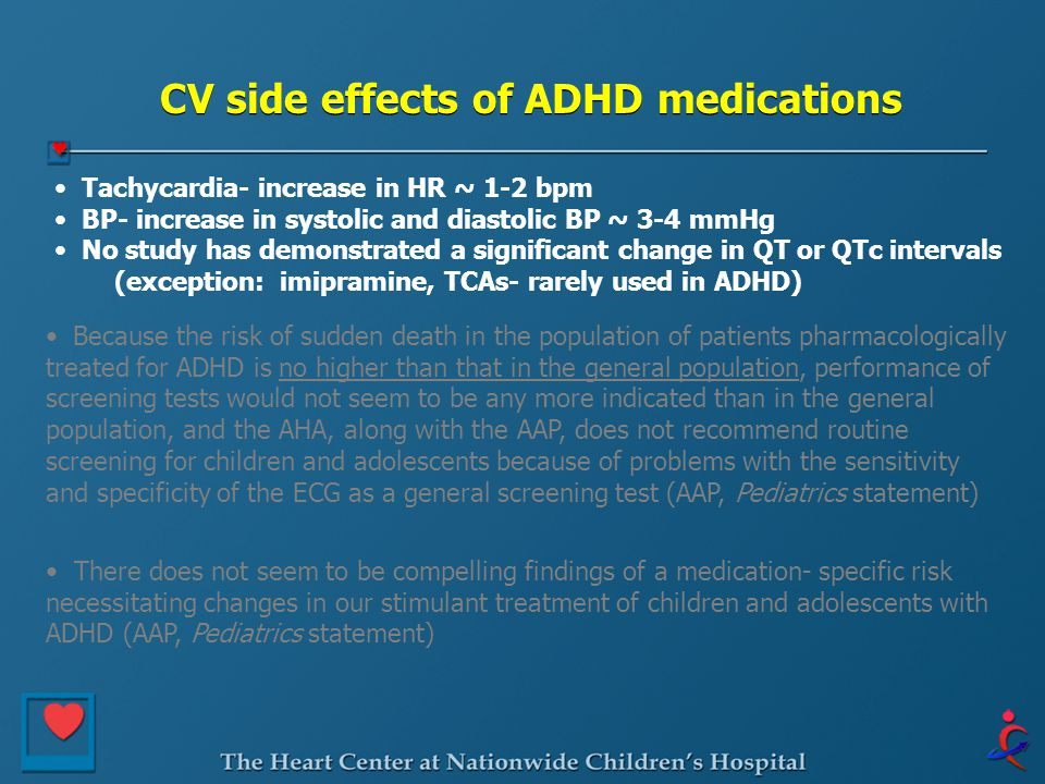 CV side effects of ADHD medications