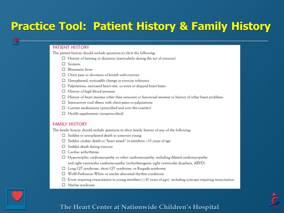 Practice Tool: Patient History & Family History