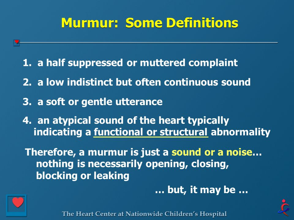 Murmur: Some Definitions