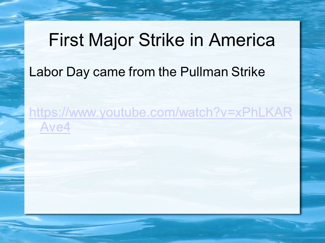 First Major Strike in America