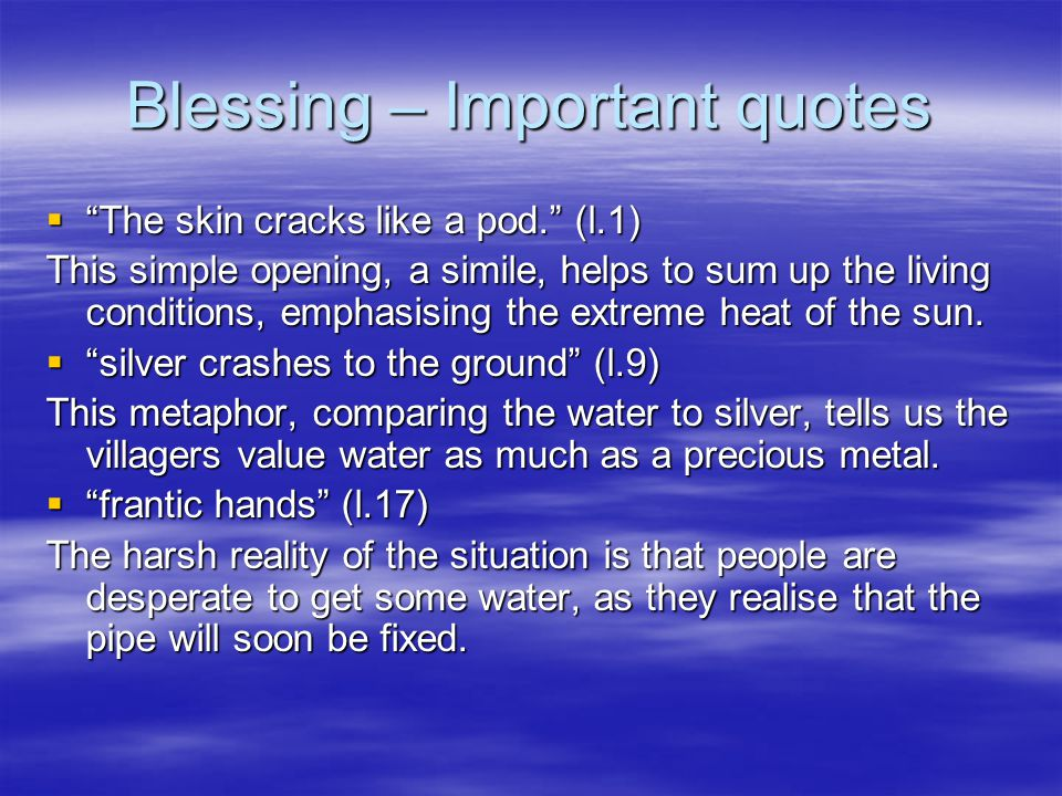 Blessing – Important quotes