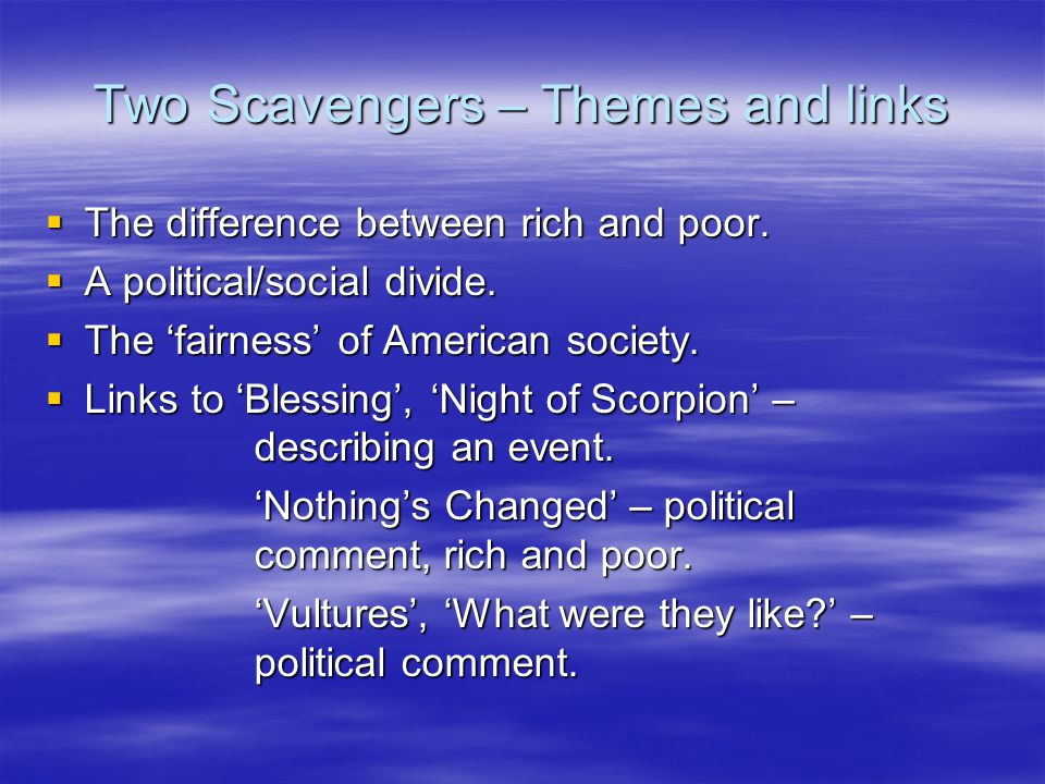Two Scavengers – Themes and links